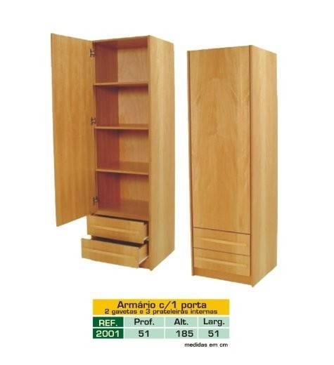 Armário em Madeira Lyptus Com 1 Porta, 2 Gavetas e 3 Prateleiras Internas Mod. 2001 - Zilmóveis