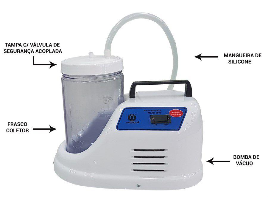 Aspirador Cirúrgico Bomba Vácuo Sugador De Sangue e Secreção 1,3 Litros 5005BRST (SEM ACESSORIOS) - Nevoni
