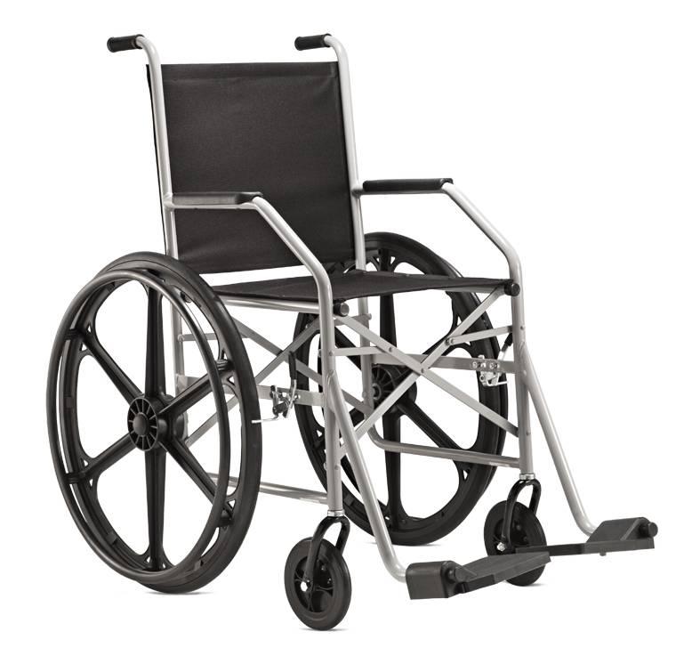 Cadeira de Rodas Dobrável Epoxi Pneus Maciços Cinza 1009 - Baxmann Jaguaribe