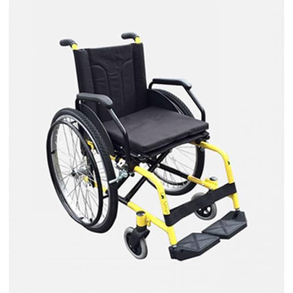 Cadeira De Rodas Duplo X Assento 44 Cm Amarela Mod. Sol Alumínio Cds
