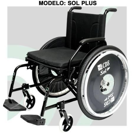 Cadeira De Rodas Duplo X Assento 44 Cm Preta Mod. Sol Alumínio Cds