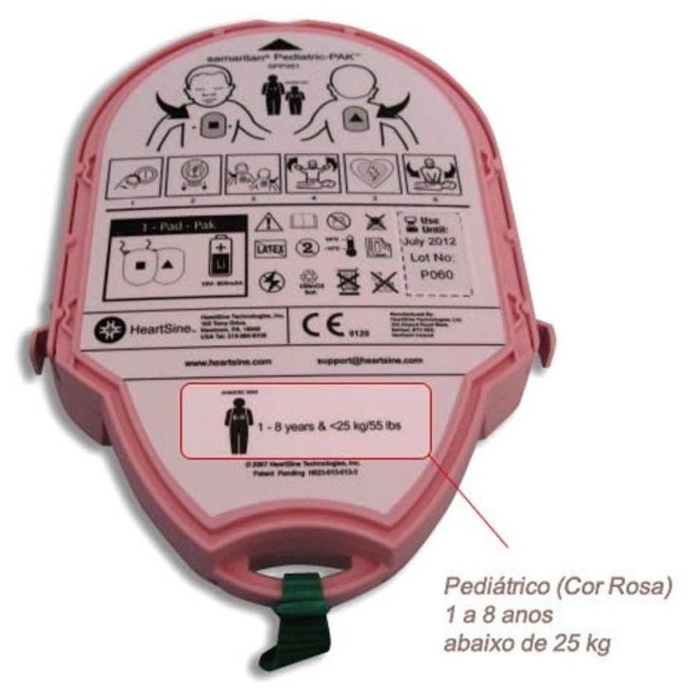 Cartucho Pediátrico C/ Bateria e Pás Descartável P/ Desfibrilador DEA Samaritan