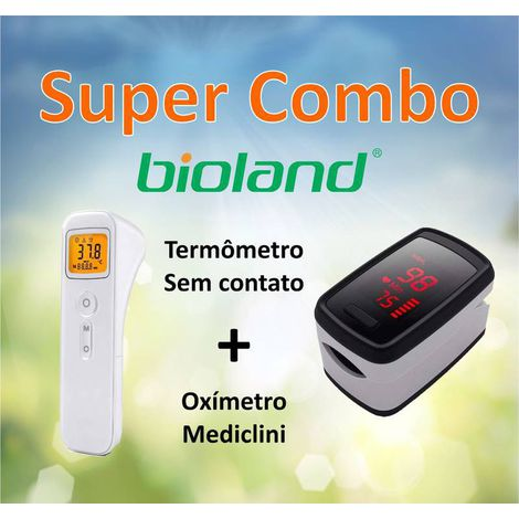 Combo Termomêtro Sem Contato Bioland E-127+ Oxímetro Mediclini