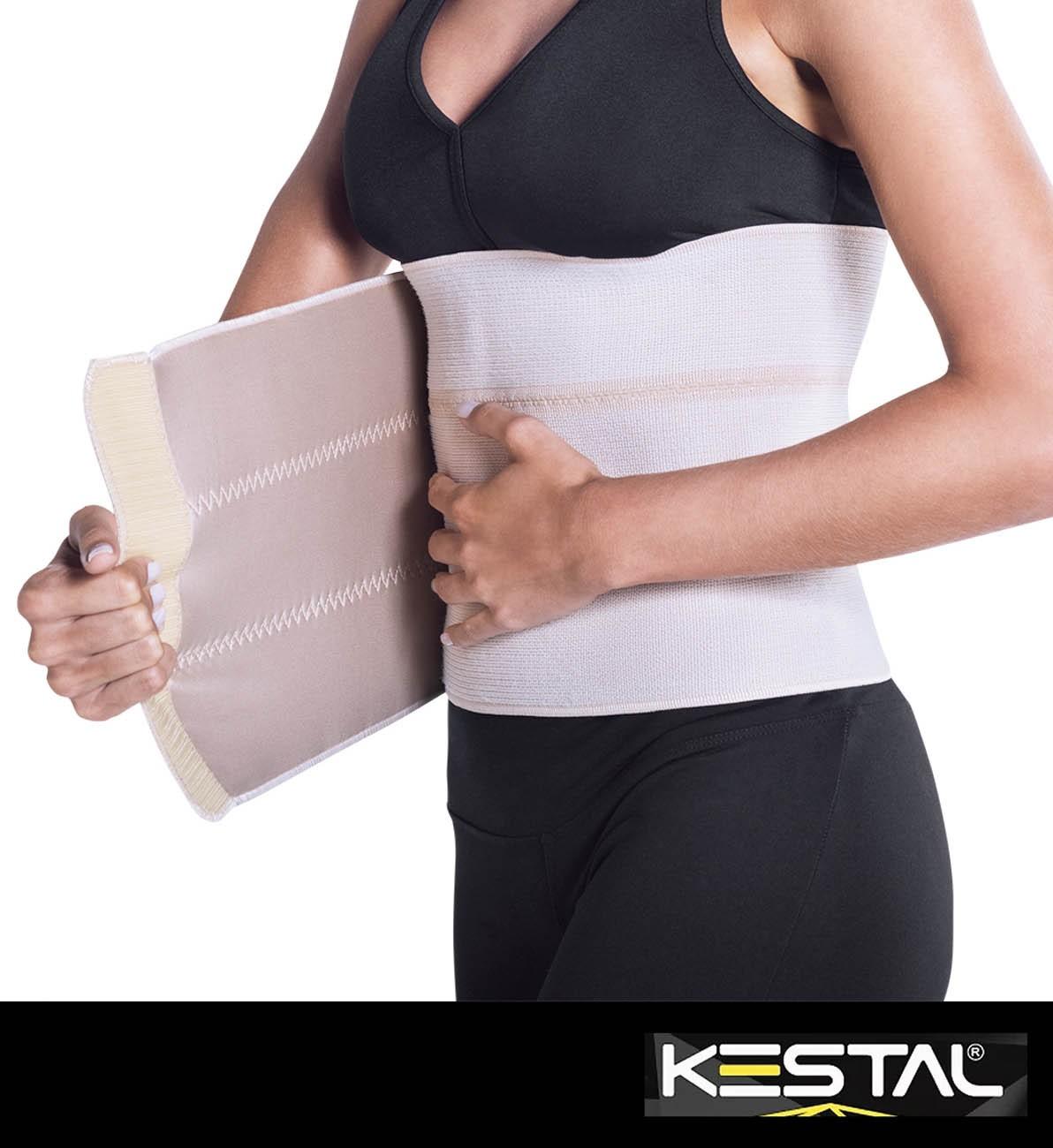 Faixa Abdominal Elástica 3 Gomos Bege (KSO101) - Kestal