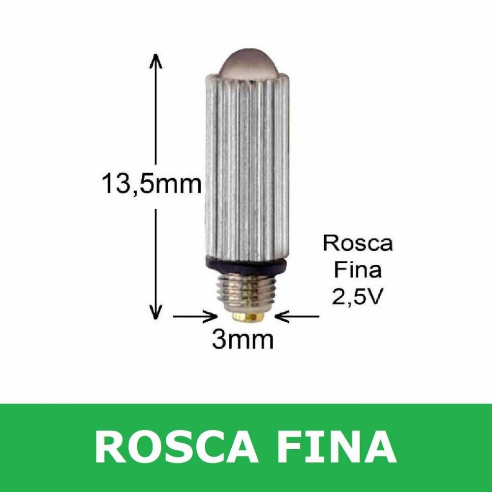 Lâmpada Para Laringoscópio Convencional Rosca Pequena Fina - MD
