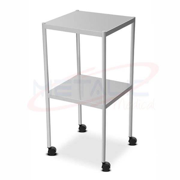 Mesa Auxiliar Inox 40 x 40 x 80 cm Com Rodas MT 395I - Metalic