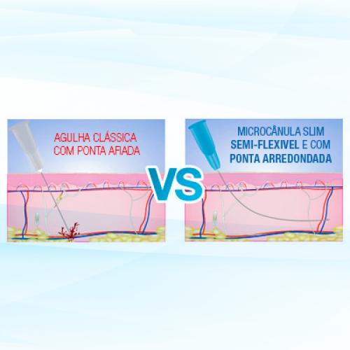 Microcânula para Preenchimento Facial Botóx e Ácidos Slim 22G-50 (0,70x0,50mm)