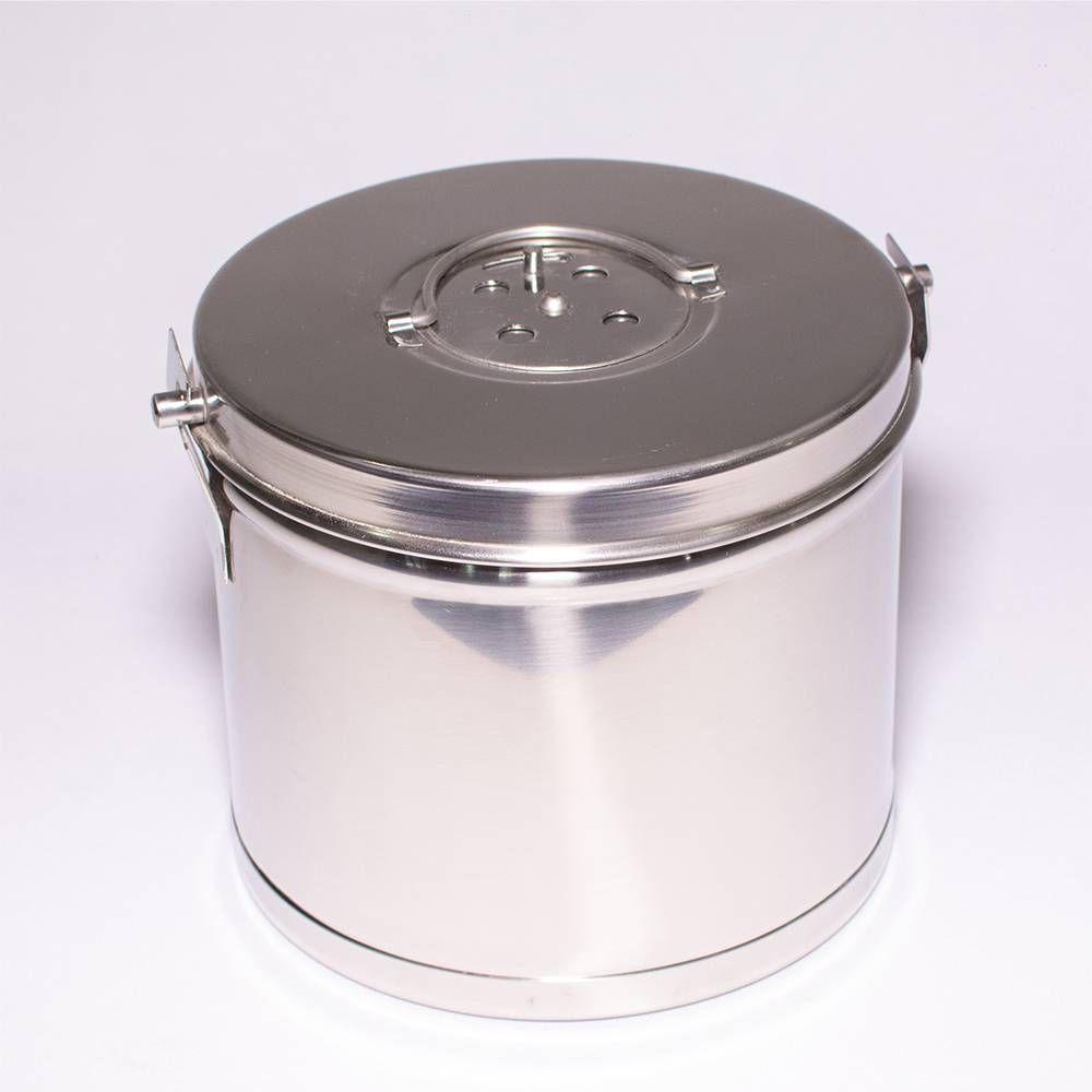 Tambor Inox Para Gaze e Algodão 19 x 19 cm Com Alça (AC-064) - Flexinox
