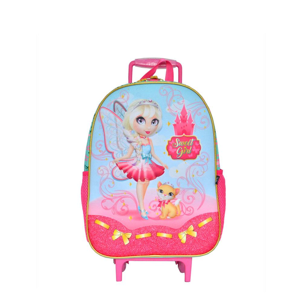 Mochila Infantil Faun Fairy Poliéster Com Rodas Sweet Girl Pink