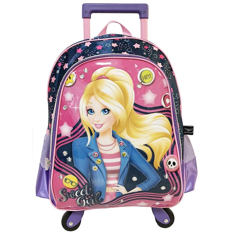 Mochila Infantil Princess Blog Poliéster Com Rodas Sweet Girl Pink