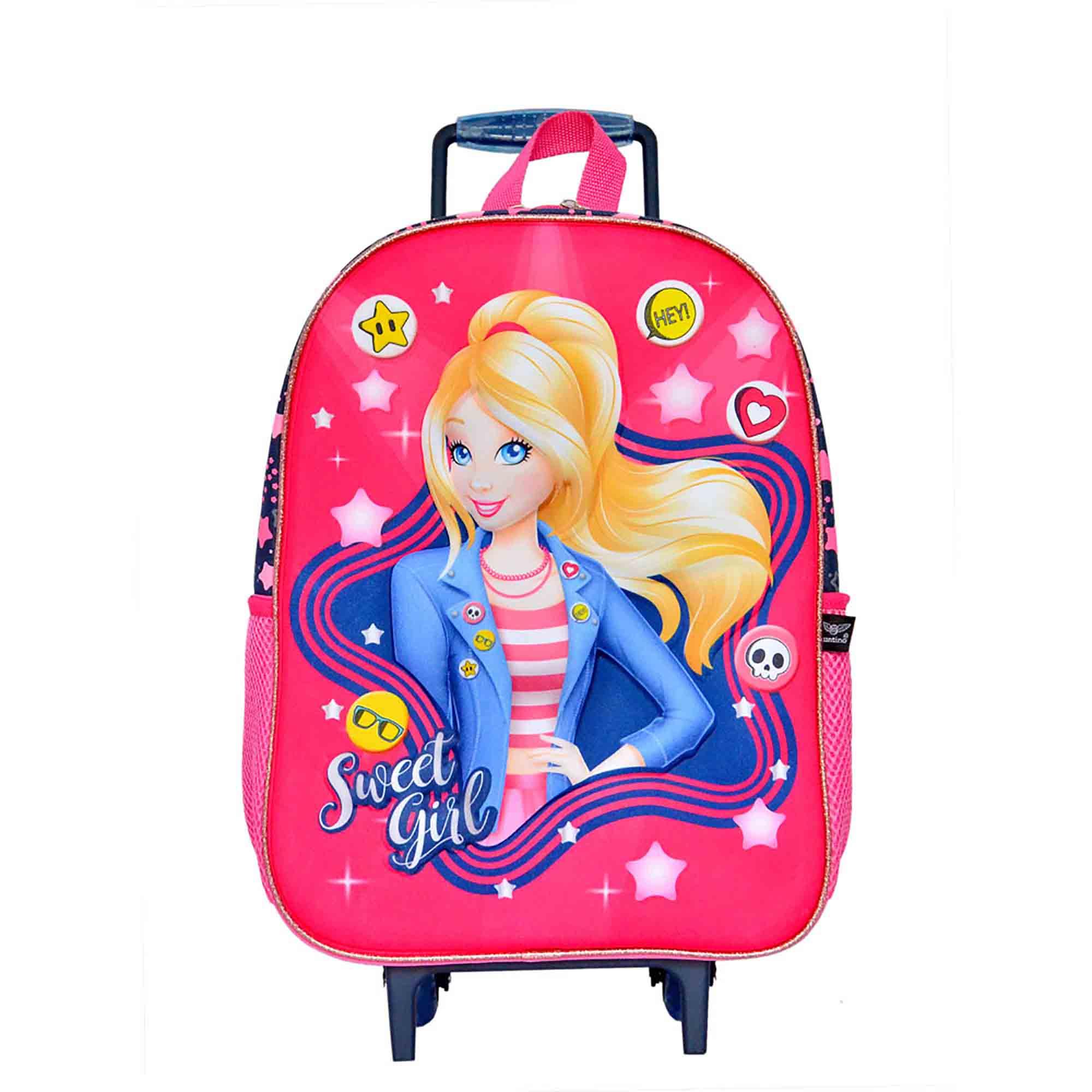 Mochila Infantil Princess Influence Poliéster Com Rodas Sweet Girl Pink