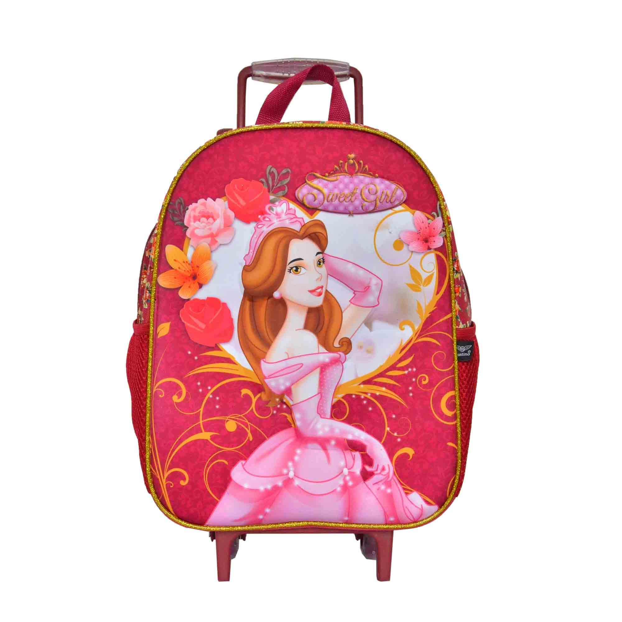 Mochila Infantil Princess Lycia Poliéster Com Rodas Sweet Girl Pink