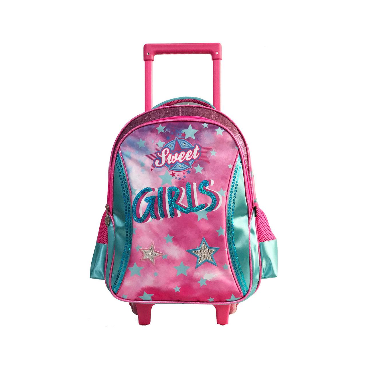 Mochila Infantil Starry Sky Poliéster Com Rodas Sweet Girl Rosa