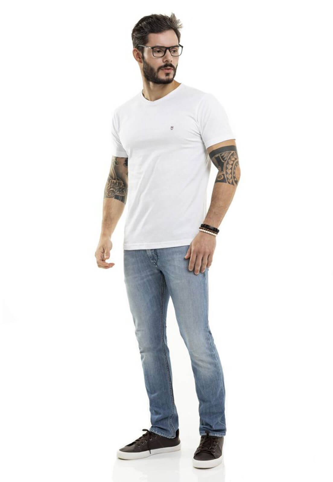 Camiseta 7 Chakras Gola V Branca