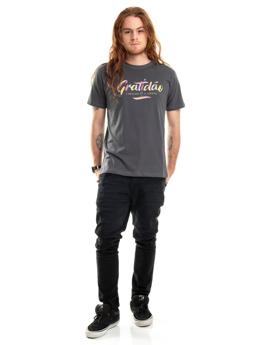 Camiseta Gratidão Double Face Chumbo