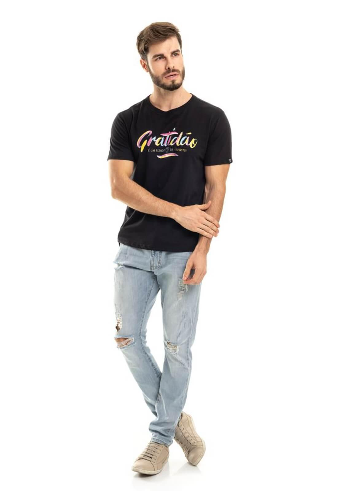 Camiseta Gratidão Double Face Preta