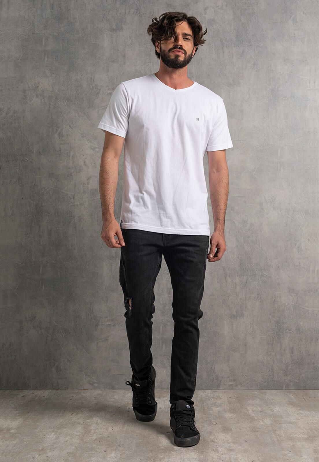 Camiseta Nogah Básica Gola V Branca
