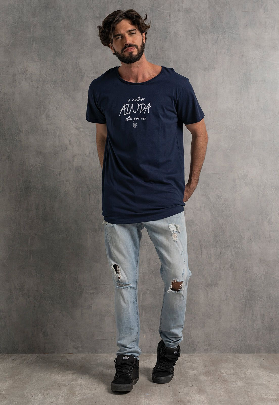 Camiseta Nogah O Melhor Ainda Está Por Vir Oversized Marinho