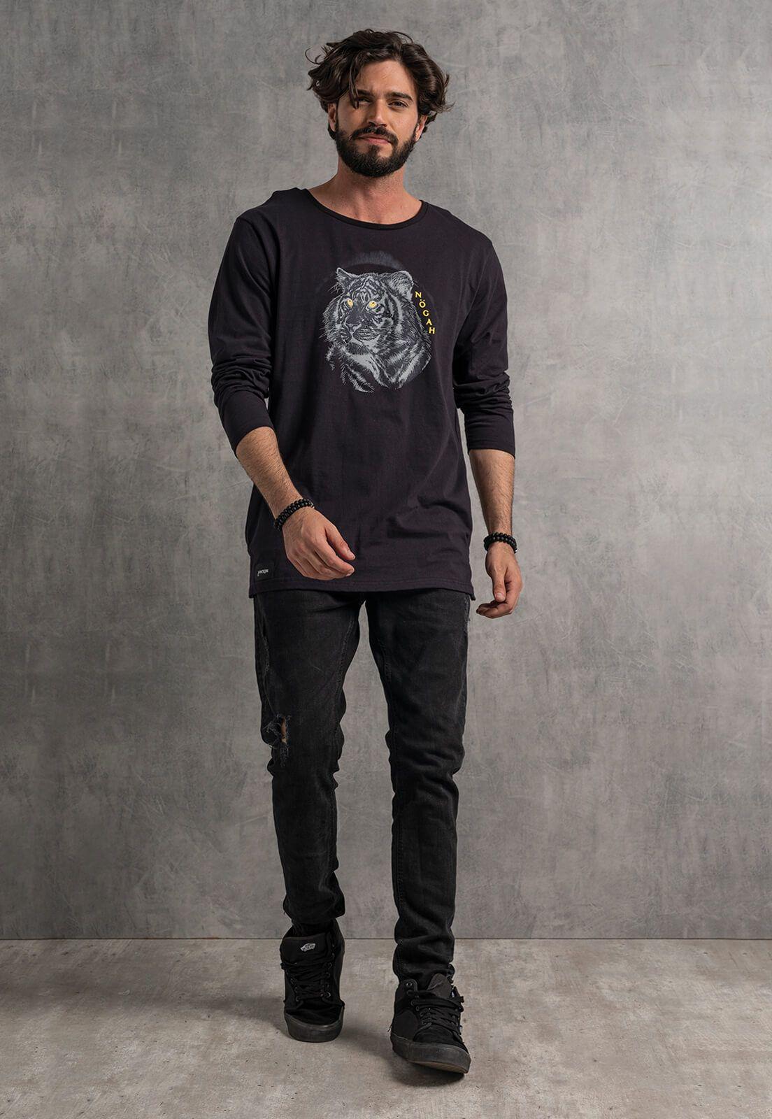 Camiseta Nogah Tiger Preta Longline