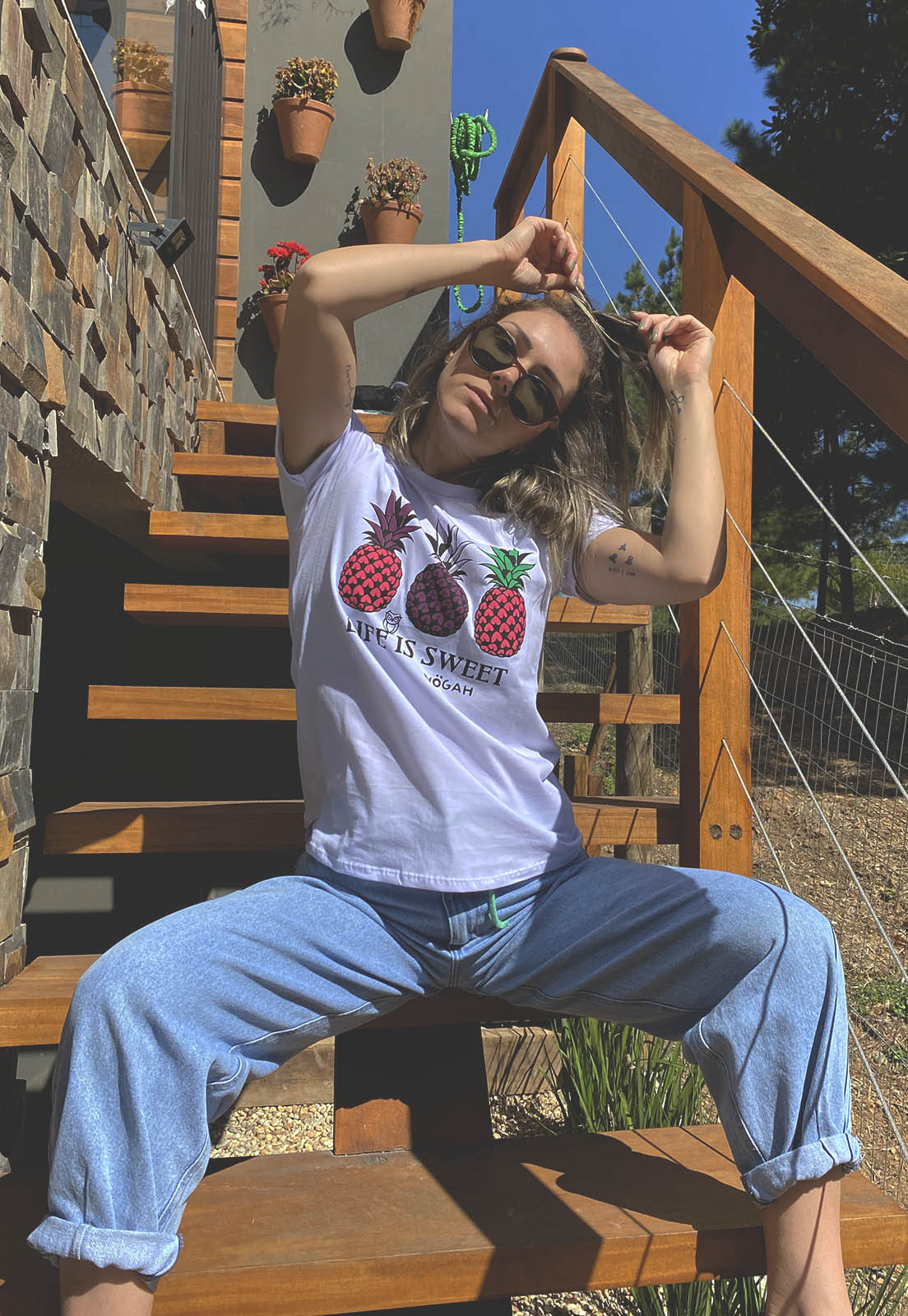 T-shirt Nogah Life is Sweet Branca
