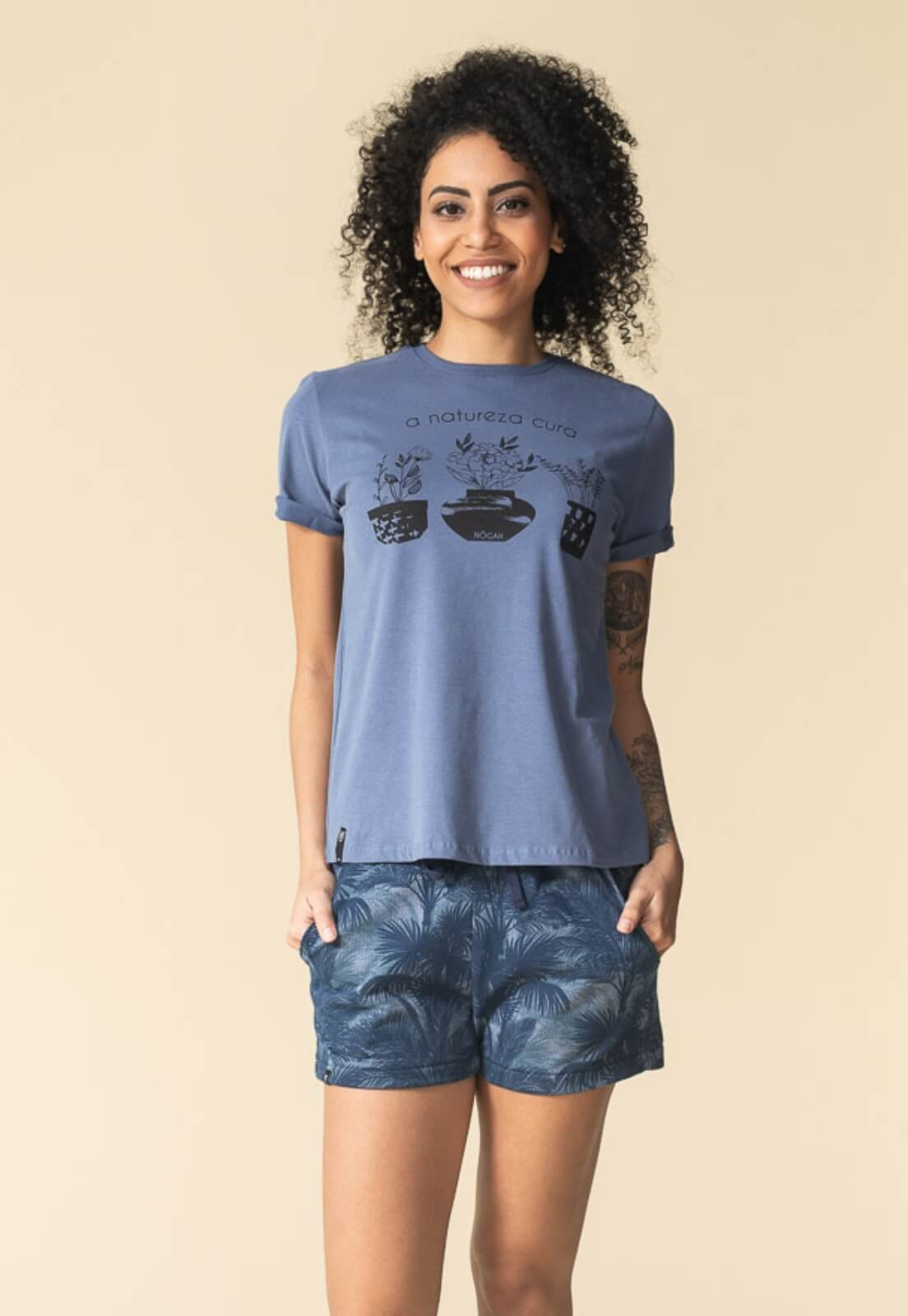 T-shirt Nogah Natureza Cura Azul