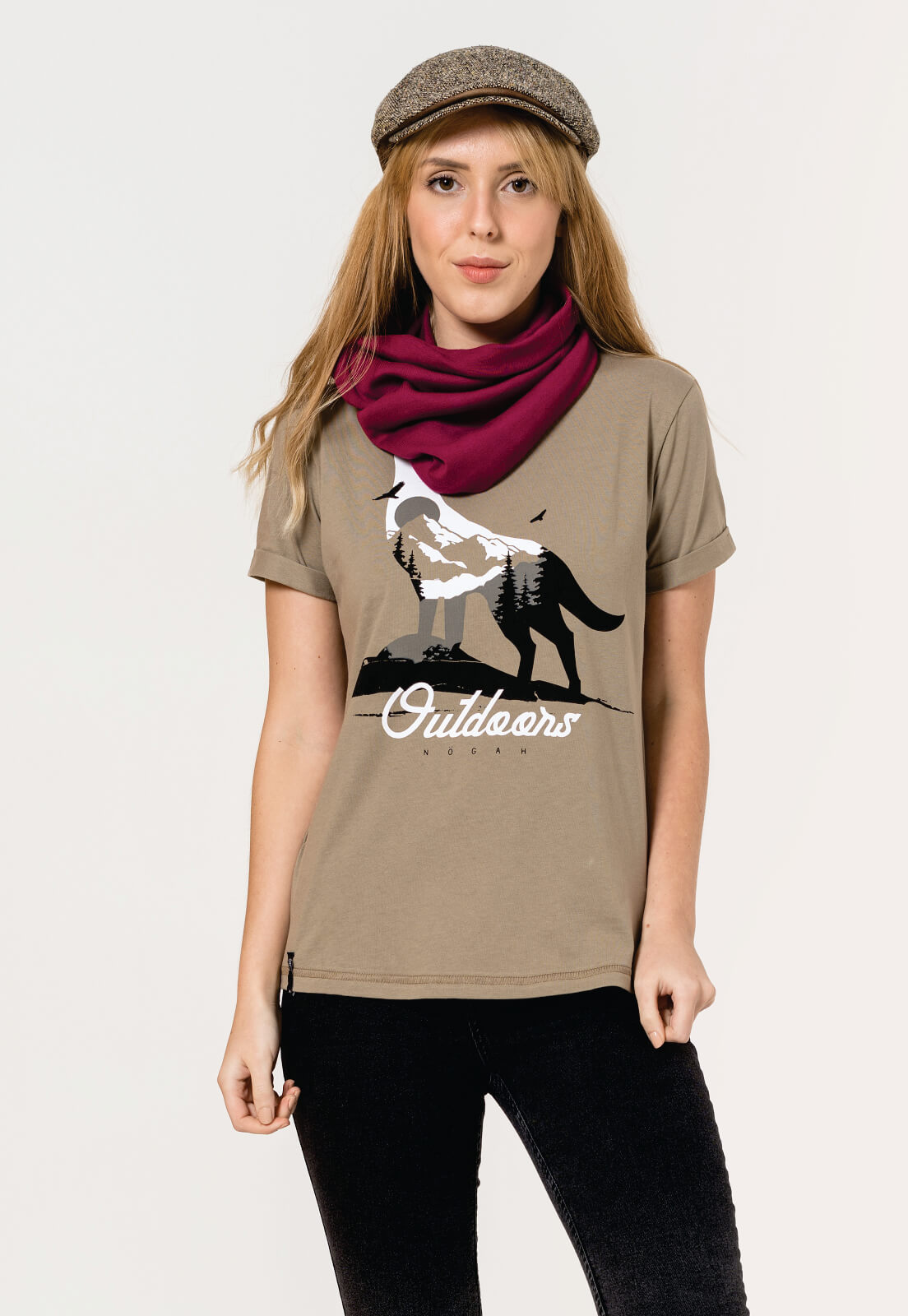 T-shirt Nogah Wolf Winter Caqui