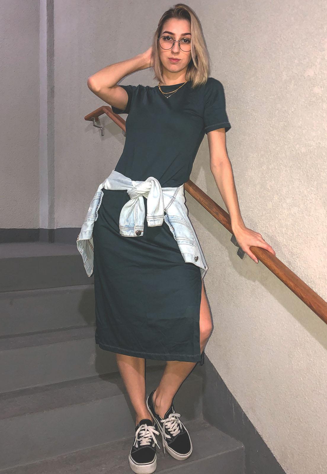 Vestido Nogah Midi Chumbo