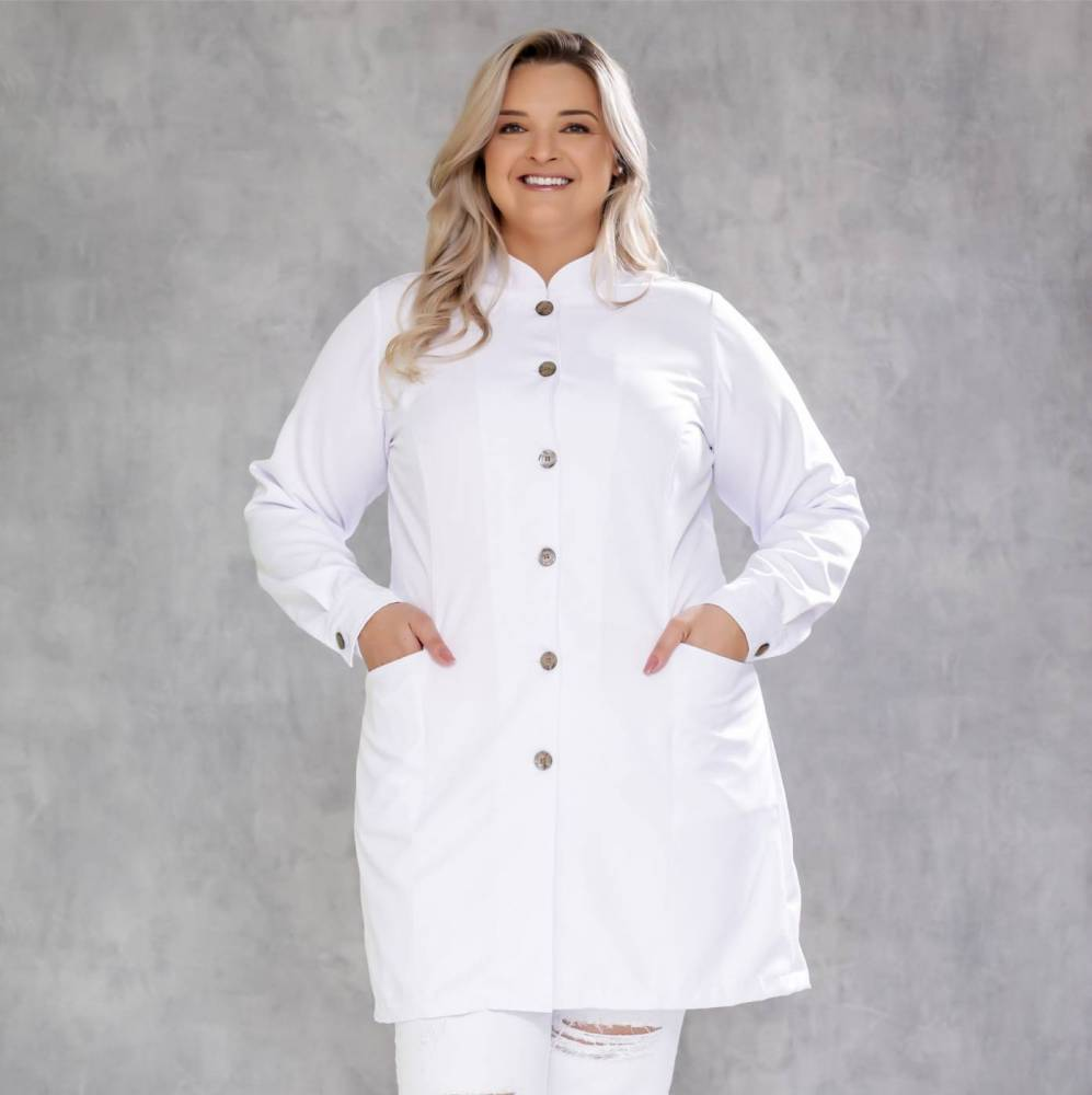 Jaleco Feminino Plus Size Premium White bronze