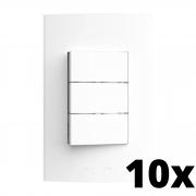 Kit 10 und Inova Pró 3 Seções de Interruptor Simples Com Placa