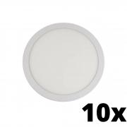 Kit 10 und Painel de Led Embutir 18w Redondo 3000k