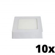 Kit 10 und Painel de Led Sobrepor 6w Quadrado 3000k