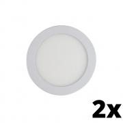 Kit 2 und Painel de Led Embutir 24w Redondo 3000k