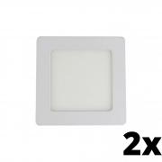 Kit 2 und Painel de Led Embutir 6w Quadrado 6500k