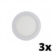 Kit 3 und Painel de Led Embutir 12w Redondo 6500k