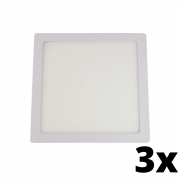 Kit 3 und Painel de Led Embutir 18w Quadrado 6500k