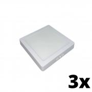 Kit 3 und Painel de Led Sobrepor 24w Quadrado 3000k