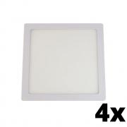 Kit 4 und Painel de Led Embutir 24w Quadrado 6500k
