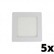 Kit 5 und Painel de Led Embutir 6w Quadrado 6500k