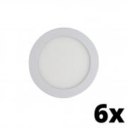 Kit 6 und Painel de Led Embutir 12w Redondo 6500k