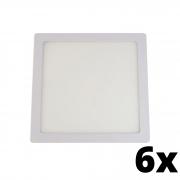 Kit 6 und Painel de Led Embutir 18w Quadrado 3000k