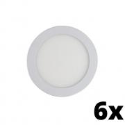 Kit 6 und Painel de Led Embutir 24w Redondo 3000k