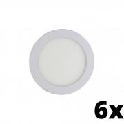 Kit 6 und Painel de Led Embutir 6w Redondo 6500k