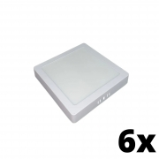 Kit 6 und Painel de Led Sobrepor 24w Quadrado 3000k