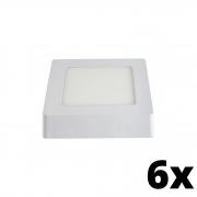 Kit 6 und Painel de Led Sobrepor 6w Quadrado 6500k
