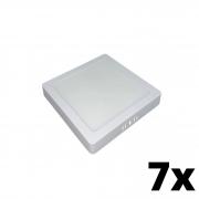 Kit 7 und Painel de Led Sobrepor 12w Quadrado 6500k