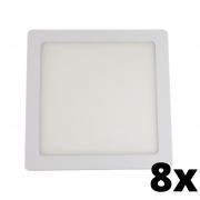Kit 8 und Painel de Led Embutir 12w Quadrado 6500k