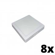 Kit 8 und Painel de Led Sobrepor 24w Quadrado 3000k