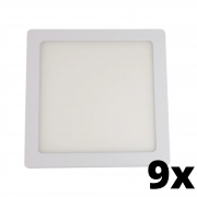 Kit 9 und Painel de Led Embutir 12w Quadrado 6500k