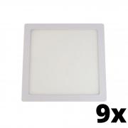 Kit 9 und Painel de Led Embutir 18w Quadrado 6500k