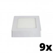 Kit 9 und Painel de Led Sobrepor 6w Quadrado 6500k